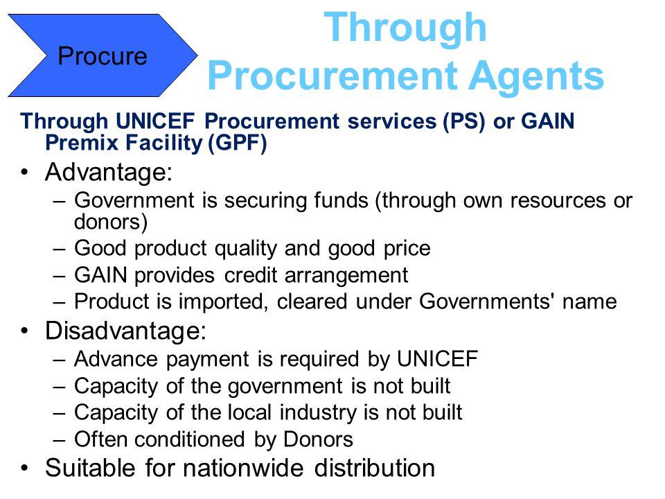 Through Procurement Agents Through UNICEF Procurement services (PS) or GAIN Premix Facility (GPF) Advantage: –Government is securing funds (through ow