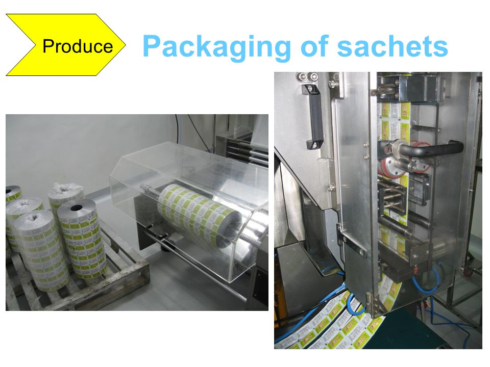Packaging of sachets Produce
