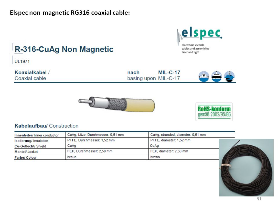 Elspec non-magnetic RG316 coaxial cable: 91