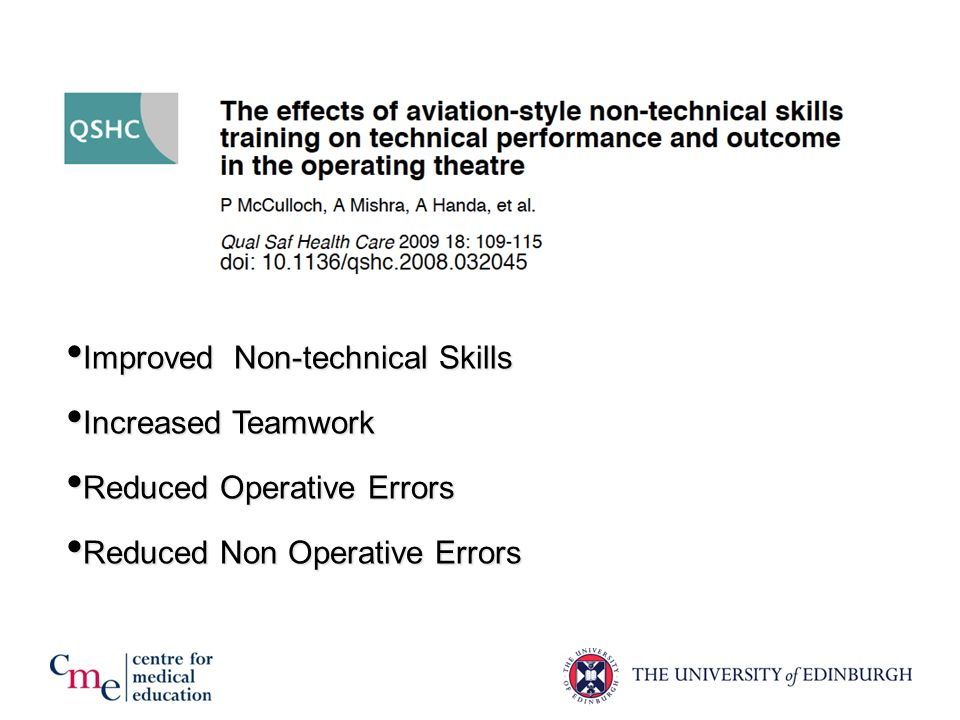 Improved Non-technical Skills Improved Non-technical Skills Increased Teamwork Increased Teamwork Reduced Operative Errors Reduced Operative Errors Reduced Non Operative Errors Reduced Non Operative Errors