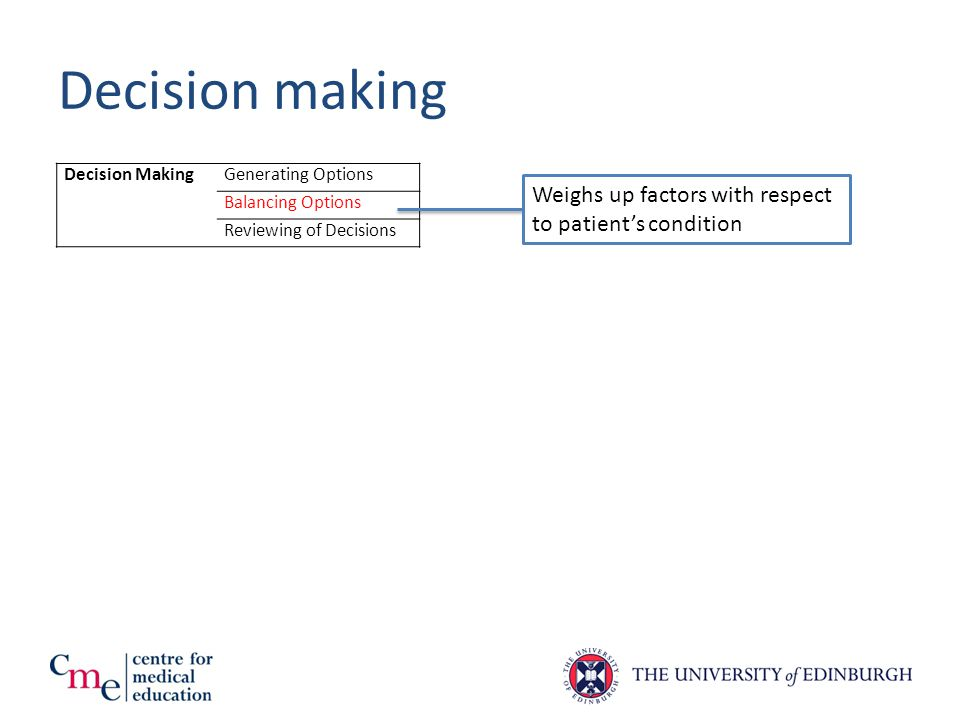 Decision making Decision MakingGenerating Options Balancing Options Reviewing of Decisions Weighs up factors with respect to patient's condition