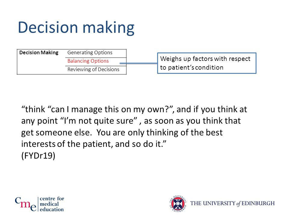 Decision making Decision MakingGenerating Options Balancing Options Reviewing of Decisions Weighs up factors with respect to patient's condition think can I manage this on my own? , and if you think at any point I'm not quite sure , as soon as you think that get someone else.