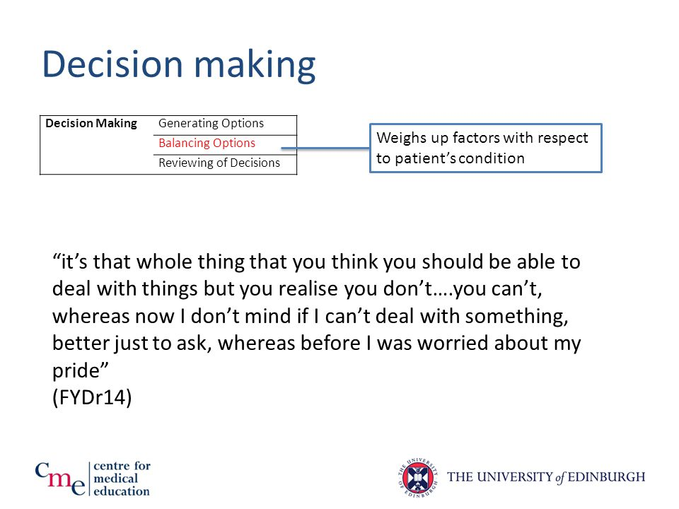 Decision making Decision MakingGenerating Options Balancing Options Reviewing of Decisions Weighs up factors with respect to patient's condition it's that whole thing that you think you should be able to deal with things but you realise you don't….you can't, whereas now I don't mind if I can't deal with something, better just to ask, whereas before I was worried about my pride (FYDr14)