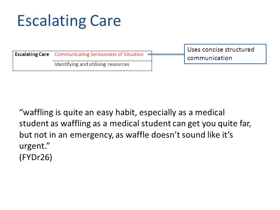 Escalating CareCommunicating Seriousness of Situation Identifying and utilising resources Escalating Care Uses concise structured communication waffling is quite an easy habit, especially as a medical student as waffling as a medical student can get you quite far, but not in an emergency, as waffle doesn't sound like it's urgent. (FYDr26)