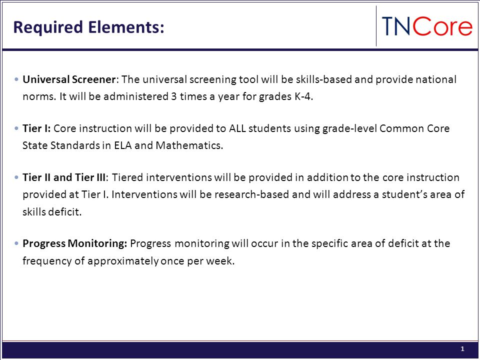 1 Required Elements: Universal Screener: The universal screening tool will be skills-based and provide national norms.