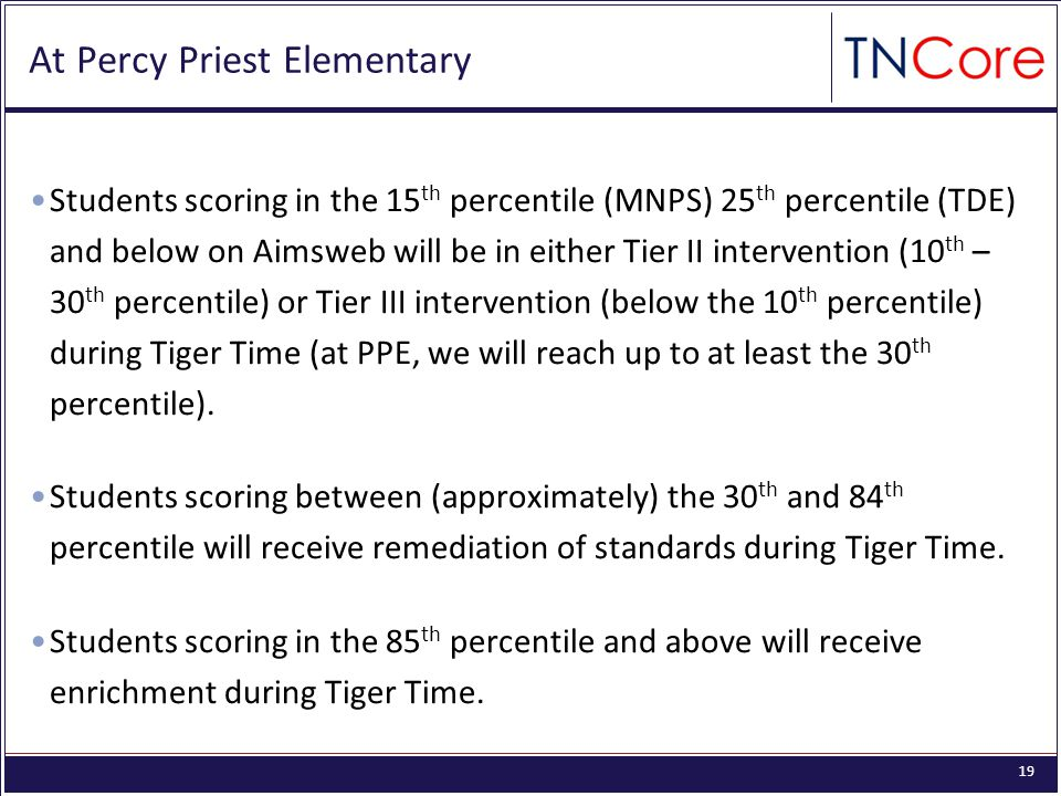 19 At Percy Priest Elementary Students scoring in the 15 th percentile (MNPS) 25 th percentile (TDE) and below on Aimsweb will be in either Tier II intervention (10 th – 30 th percentile) or Tier III intervention (below the 10 th percentile) during Tiger Time (at PPE, we will reach up to at least the 30 th percentile).