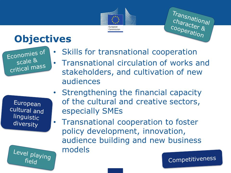 Objectives 32 Skills for transnational cooperation Transnational circulation of works and stakeholders, and cultivation of new audiences Strengthening the financial capacity of the cultural and creative sectors, especially SMEs Transnational cooperation to foster policy development, innovation, audience building and new business models Transnational character & cooperation European cultural and linguistic diversity Competitiveness Level playing field Economies of scale & critical mass