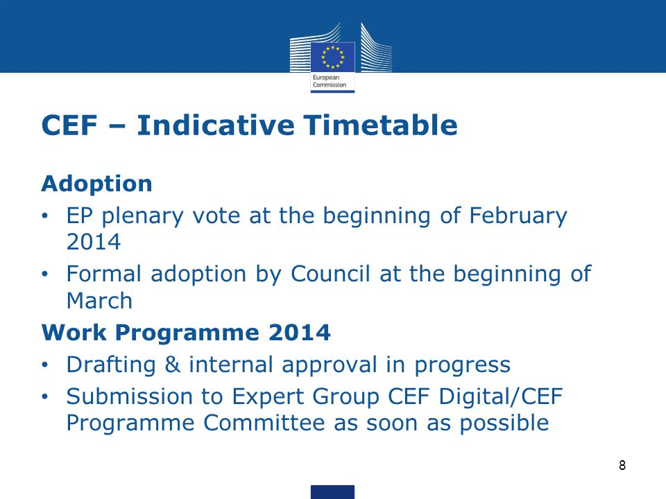 CEF – Indicative Timetable 8 Adoption EP plenary vote at the beginning of February 2014 Formal adoption by Council at the beginning of March Work Programme 2014 Drafting & internal approval in progress Submission to Expert Group CEF Digital/CEF Programme Committee as soon as possible