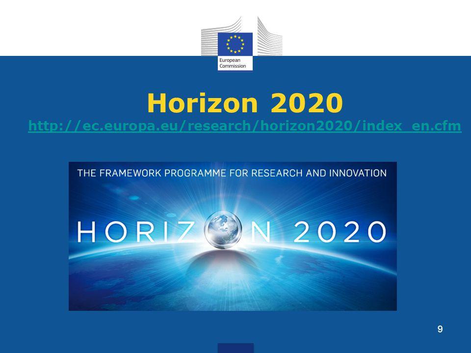 Horizon 2020 http://ec.europa.eu/research/horizon2020/index_en.cfm http://ec.europa.eu/research/horizon2020/index_en.cfm 9