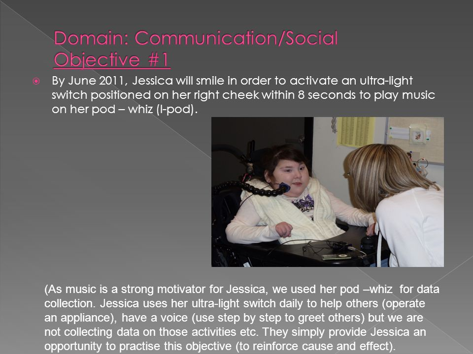  By June 2011, Jessica will smile in order to activate an ultra-light switch positioned on her right cheek within 8 seconds to play music on her pod – whiz (I-pod).