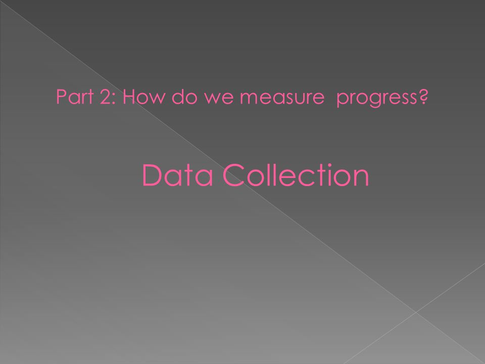 Part 2: How do we measure progress? Data Collection