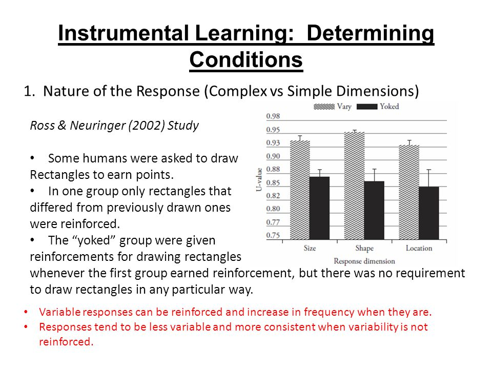Instrumental Learning: Determining Conditions Variable responses can be reinforced and increase in frequency when they are.