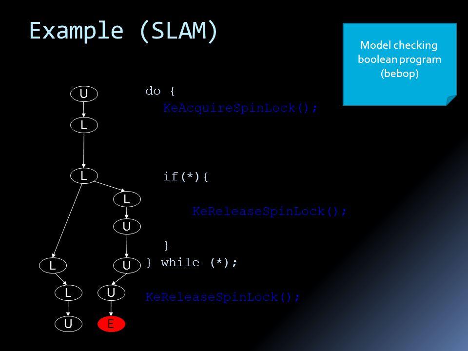 do { KeAcquireSpinLock(); if(*){ KeReleaseSpinLock(); } } while (*); KeReleaseSpinLock(); Model checking boolean program (bebop) U L L L L U L U U U E Example (SLAM)