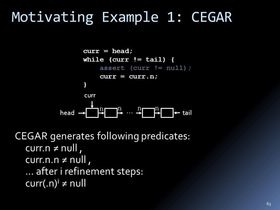 Motivating Example 1: CEGAR curr = head; while (curr != tail) { assert (curr != null); curr = curr.n; } curr n nnn tail … CEGAR generates following predicates: curr.n ≠ null, curr.n.n ≠ null, … after i refinement steps: curr(.n) i ≠ null head 63