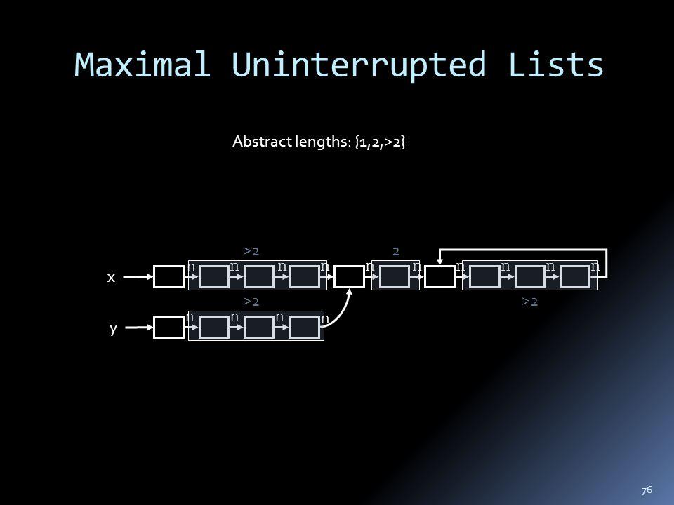 Maximal Uninterrupted Lists x y n nnnnnnnnn nnn n 2>2 Abstract lengths: {1,2,>2} 76