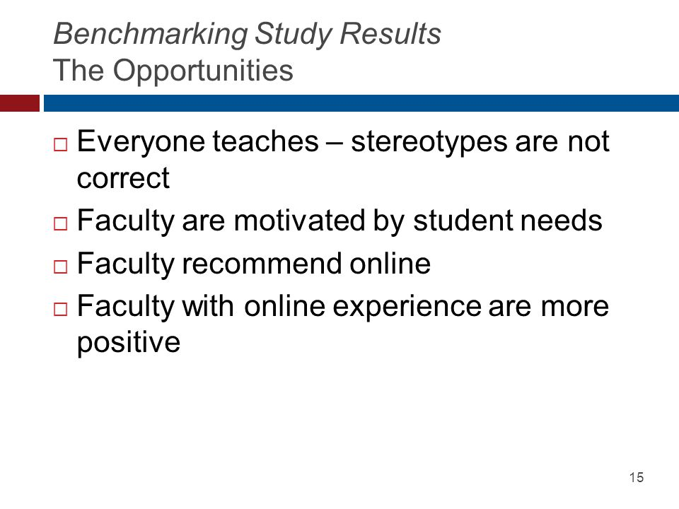 Benchmarking Study Results The Opportunities  Everyone teaches – stereotypes are not correct  Faculty are motivated by student needs  Faculty recommend online  Faculty with online experience are more positive 15