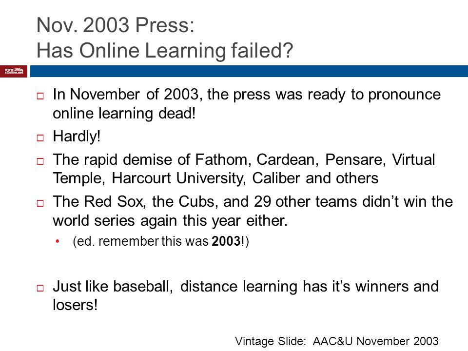 www.UMas sOnline.net Nov. 2003 Press: Has Online Learning failed.