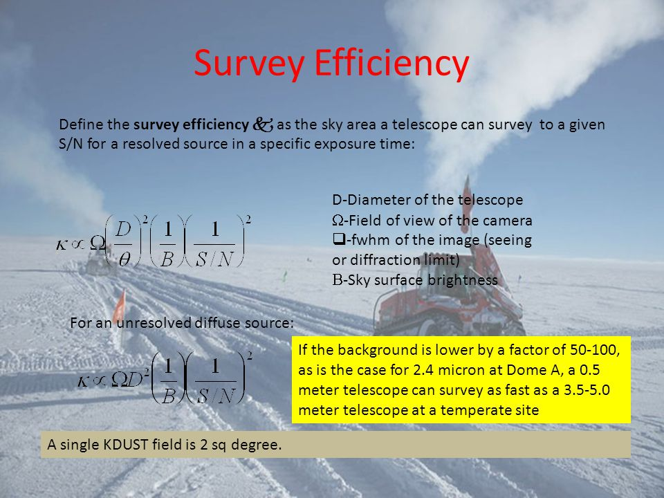 Survey Efficiency Define the survey efficiency k as the sky area a telescope can survey to a given S/N for a resolved source in a specific exposure ti