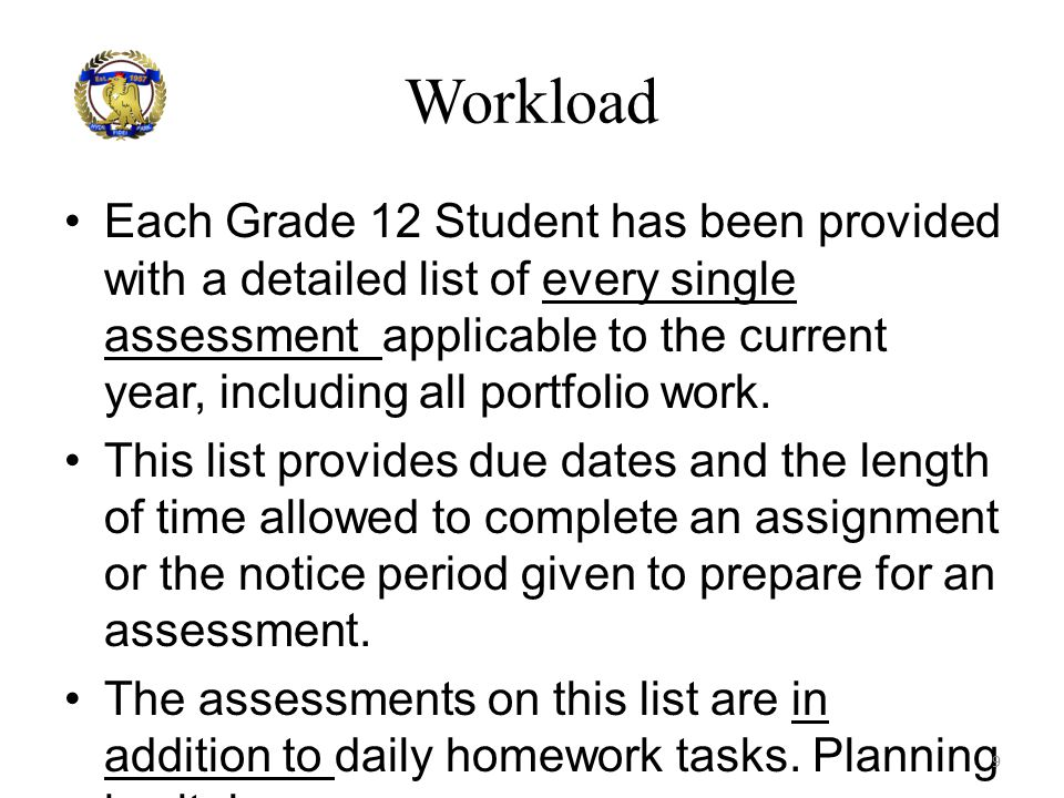 Each Grade 12 Student has been provided with a detailed list of every single assessment applicable to the current year, including all portfolio work.