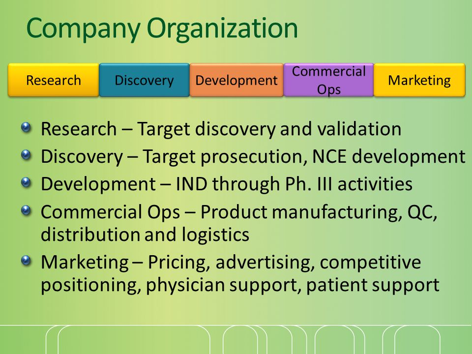 Company Organization Research – Target discovery and validation Discovery – Target prosecution, NCE development Development – IND through Ph.
