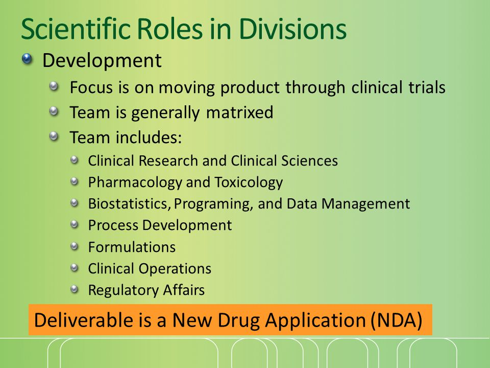 Scientific Roles in Divisions Development Focus is on moving product through clinical trials Team is generally matrixed Team includes: Clinical Research and Clinical Sciences Pharmacology and Toxicology Biostatistics, Programing, and Data Management Process Development Formulations Clinical Operations Regulatory Affairs Deliverable is a New Drug Application (NDA)