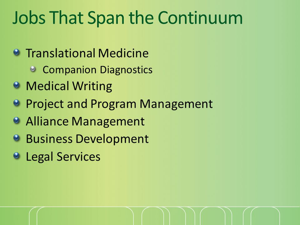 Jobs That Span the Continuum Translational Medicine Companion Diagnostics Medical Writing Project and Program Management Alliance Management Business Development Legal Services