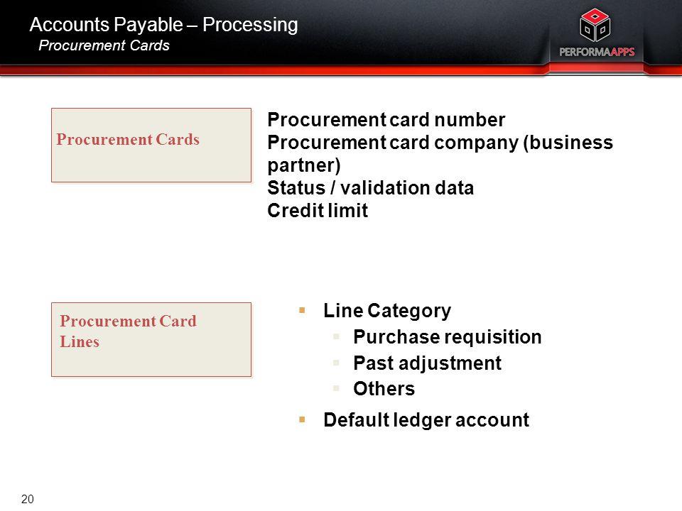 Template V.16, July 19, 2011 Accounts Payable – Processing Procurement Cards Procurement Cards Procurement Card Lines Procurement card number Procurem