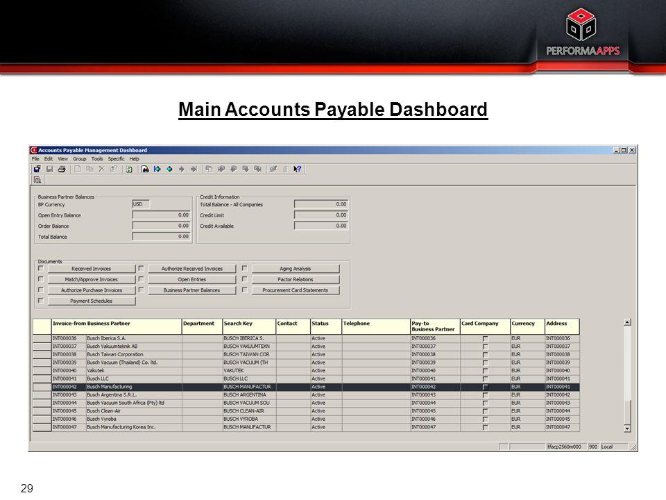Template V.16, July 19, 2011 Accounts Payable Dashboard 29 Main Accounts Payable Dashboard