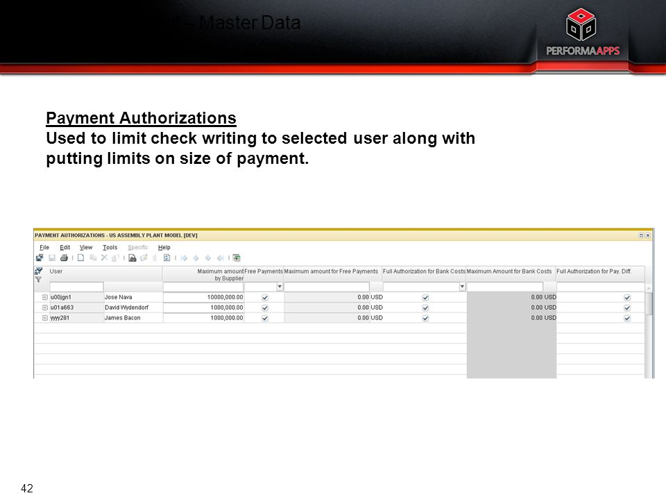 Template V.16, July 19, 2011 Cash Management – Master Data Payment Authorizations Payment Authorizations Used to limit check writing to selected user