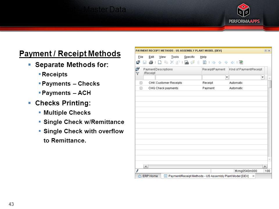 Template V.16, July 19, 2011 Cash Management – Master Data Payment / Receipt Methods Payment / Receipt Methods  Separate Methods for:  Receipts  Pa