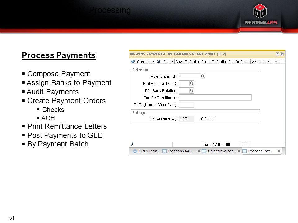 Template V.16, July 19, 2011 Cash Management – Processing Process Payments Process Payments  Compose Payment  Assign Banks to Payment  Audit Paymen