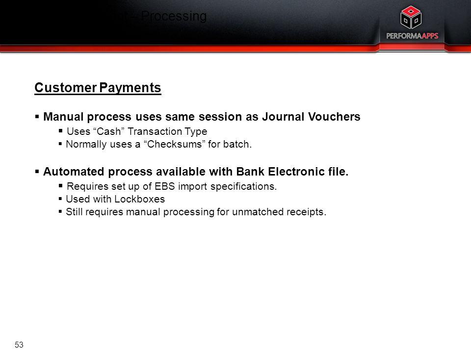 Template V.16, July 19, 2011 Cash Management – Processing Customer Payments Customer Payments  Manual process uses same session as Journal Vouchers 