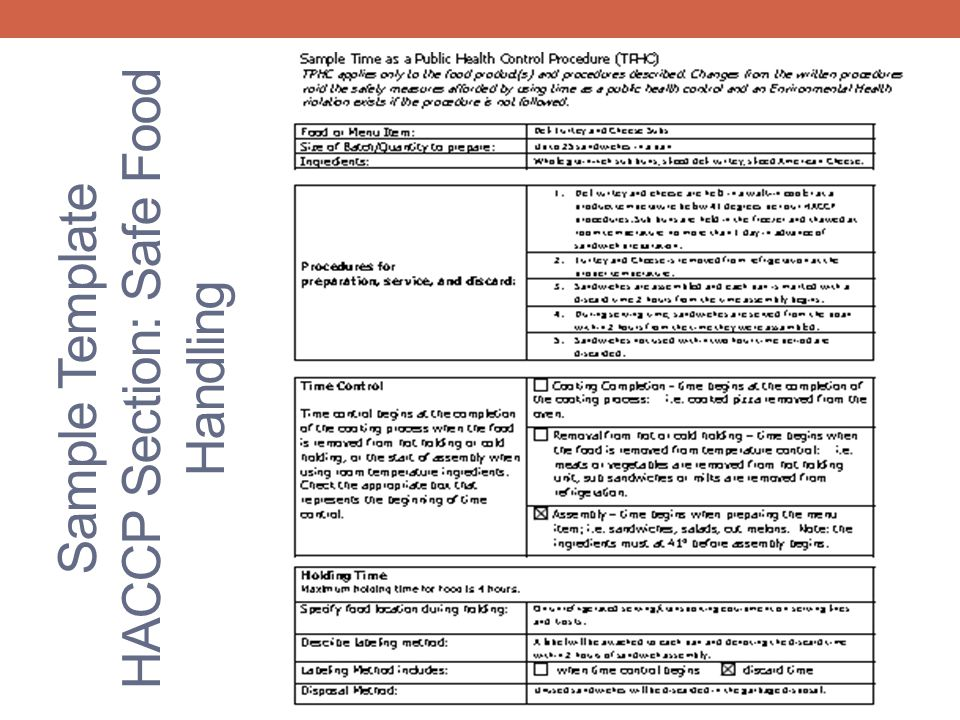 Sample Template HACCP Section: Safe Food Handling