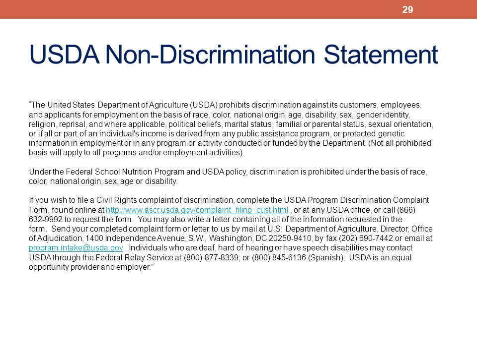 The United States Department of Agriculture (USDA) prohibits discrimination against its customers, employees, and applicants for employment on the basis of race, color, national origin, age, disability, sex, gender identity, religion, reprisal, and where applicable, political beliefs, marital status, familial or parental status, sexual orientation, or if all or part of an individual s income is derived from any public assistance program, or protected genetic information in employment or in any program or activity conducted or funded by the Department.