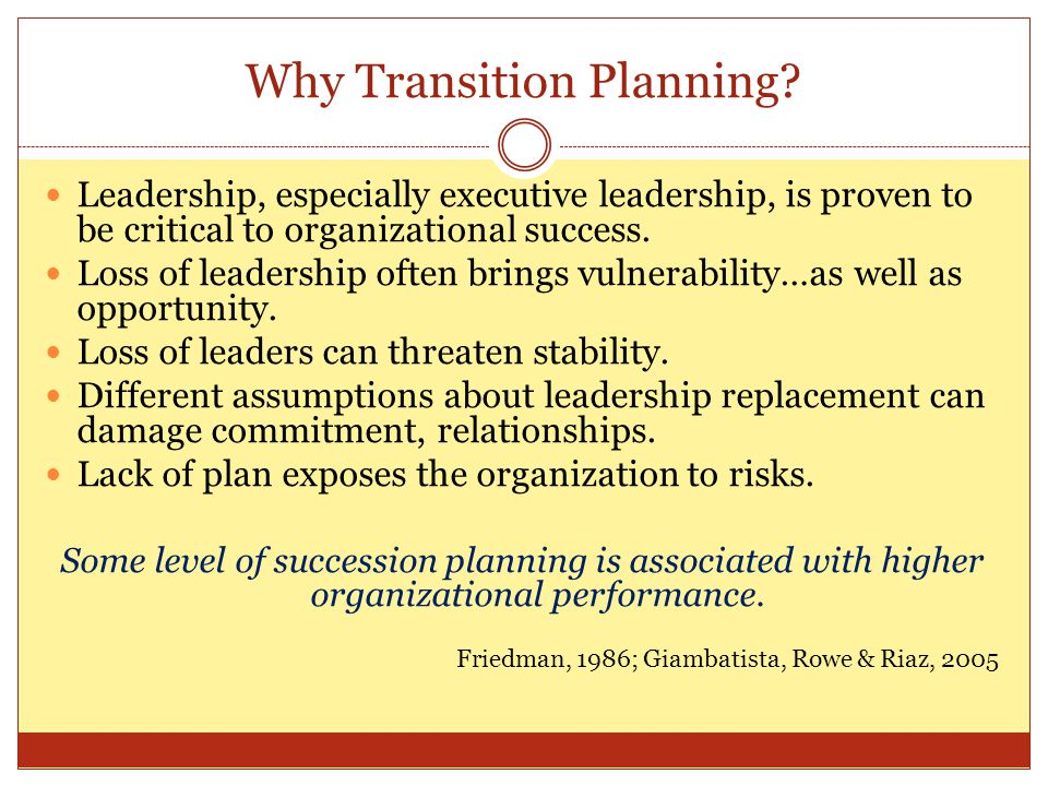 Transition Resources Managing Executive Transitions: A guide for Nonprofits; and other writings by Tim Wolfred.