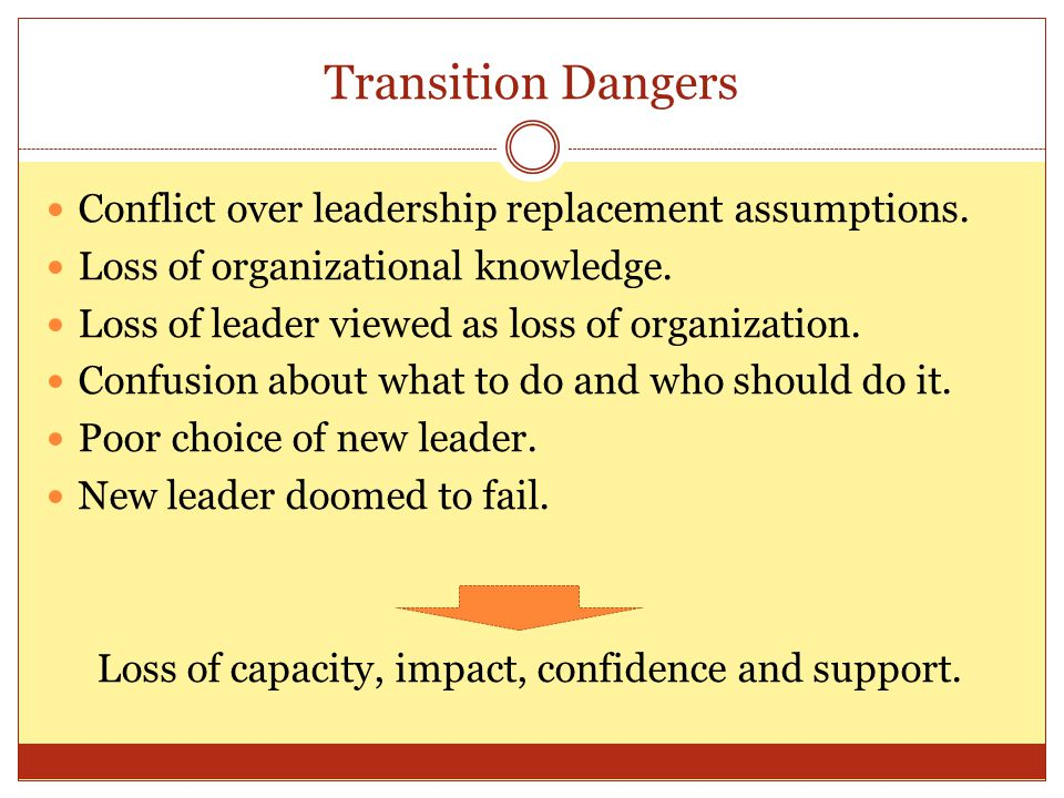 Transition or Succession Planning Defined …thinking in advance about how to set the stage for a strong transition. ( Tim Wolfred and Jan Masaoka, Blue Avacado, February 17, 2009) Any type of formal rules or procedures in arranging for managerial succession.