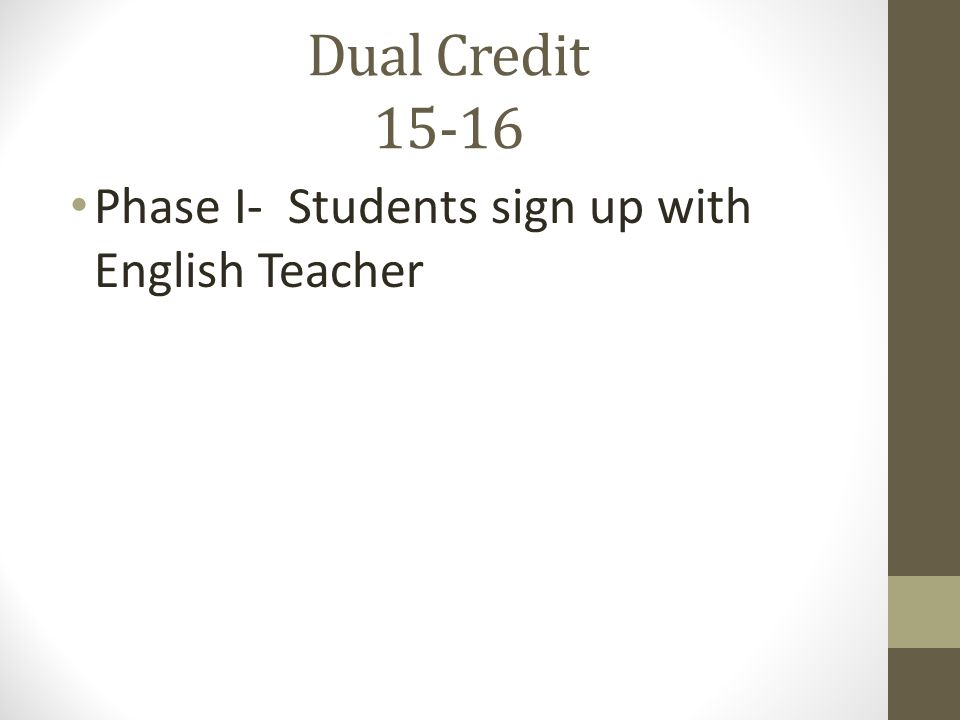 Dual Credit 15-16 Phase I- Students sign up with English Teacher
