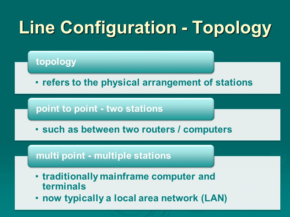 Line Configuration - Topology refers to the physical arrangement of stations topology such as between two routers / computers point to point - two stations traditionally mainframe computer and terminals now typically a local area network (LAN) multi point - multiple stations
