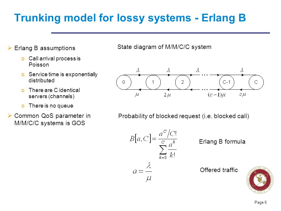 Florida Institute of technologies Page 6 Trunking model for lossy systems - Erlang B  Erlang B assumptions oCall arrival process is Poisson oService time is exponentially distributed oThere are C identical servers (channels) oThere is no queue  Common QoS parameter in M/M/C/C systems is GOS State diagram of M/M/C/C system Probability of blocked request (i.e.
