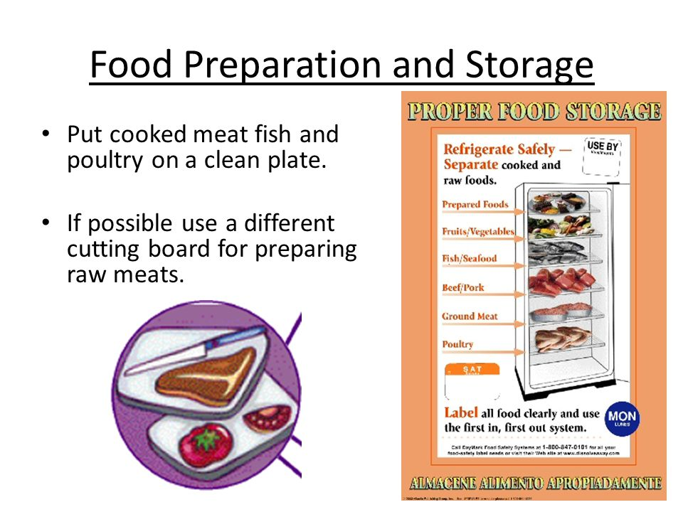 Food Preparation and Storage. Raw meat + Produce = Contamination Separate: Don't let bacteria spread from one food to another. Keep raw meat, poultry,