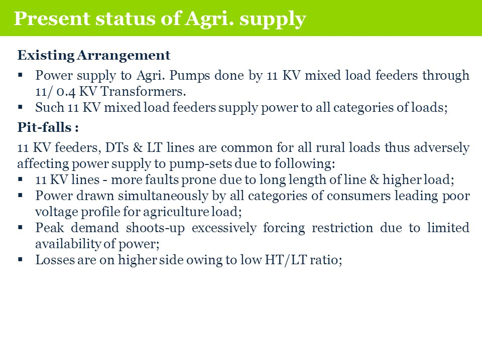 Existing Arrangement  Power supply to Agri.