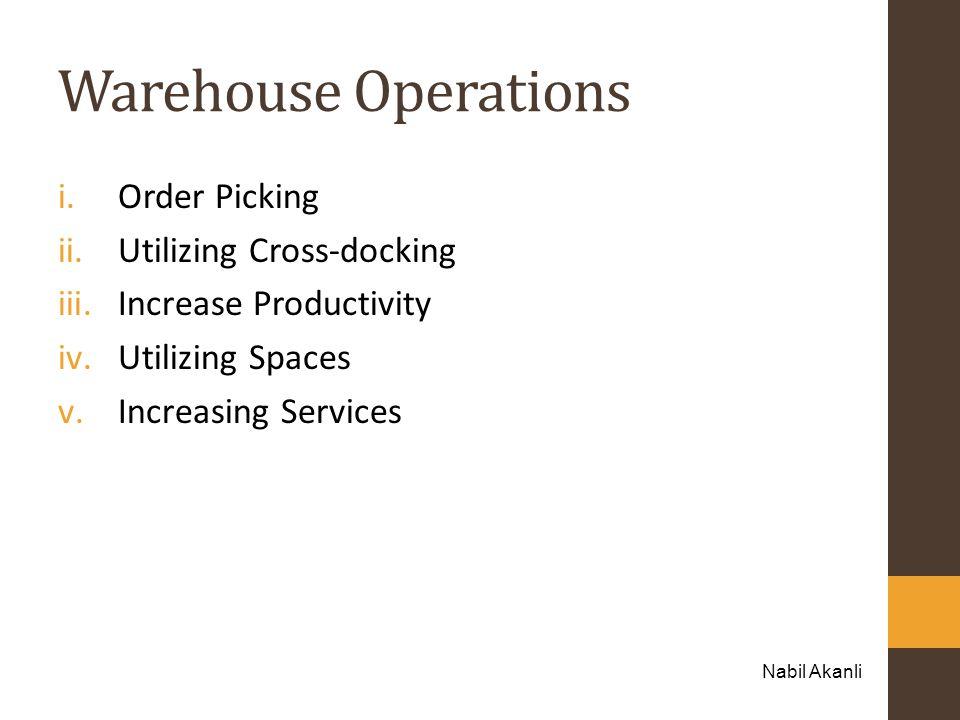 Warehouse Operations i.Order Picking ii.Utilizing Cross-docking iii.Increase Productivity iv.Utilizing Spaces v.Increasing Services Nabil Akanli