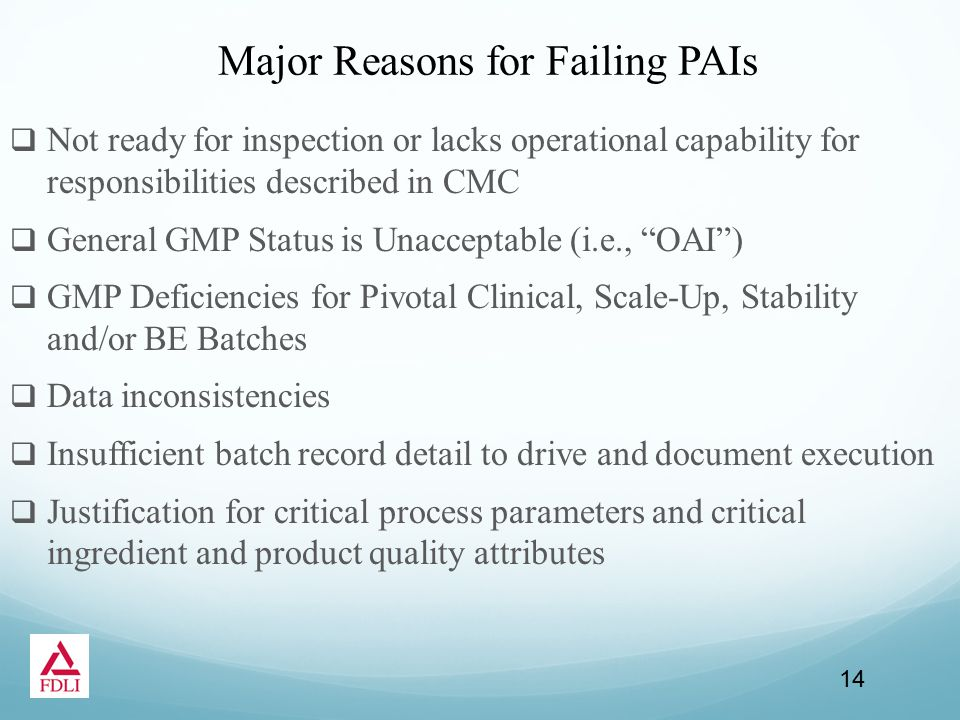 Major Reasons for Failing PAIs  Not ready for inspection or lacks operational capability for responsibilities described in CMC  General GMP Status is Unacceptable (i.e., OAI )  GMP Deficiencies for Pivotal Clinical, Scale-Up, Stability and/or BE Batches  Data inconsistencies  Insufficient batch record detail to drive and document execution  Justification for critical process parameters and critical ingredient and product quality attributes 14