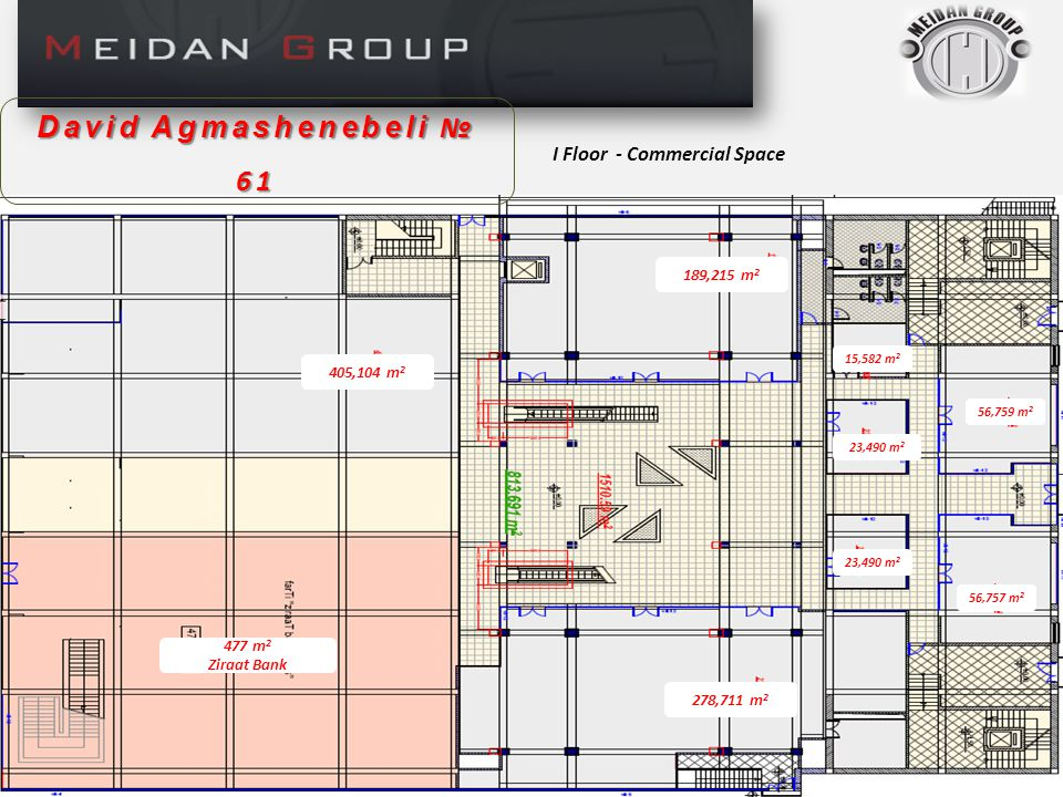 II Floor – Commercial Space David Agmashenebeli № 61 204,160 m 2 Ziraat Bank 154,237 m 2.
