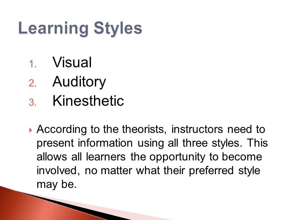 1. Visual 2. Auditory 3.