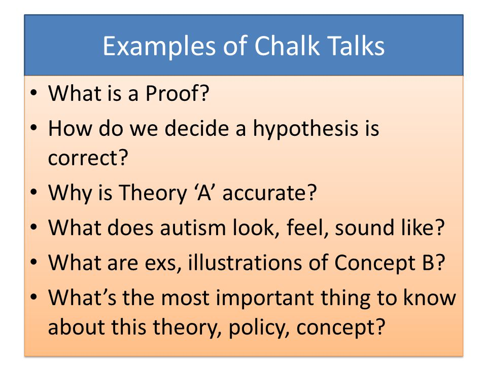 Examples of Chalk Talks What is a Proof. How do we decide a hypothesis is correct.