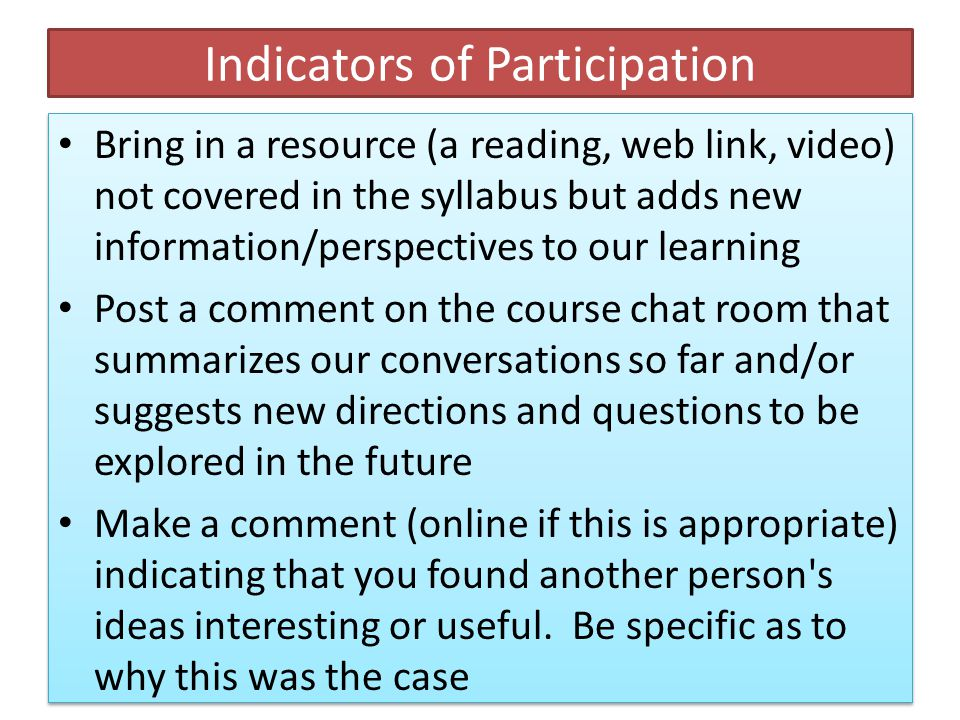Indicators of Participation Contribute something that builds on, or springs from, what someone else has said.
