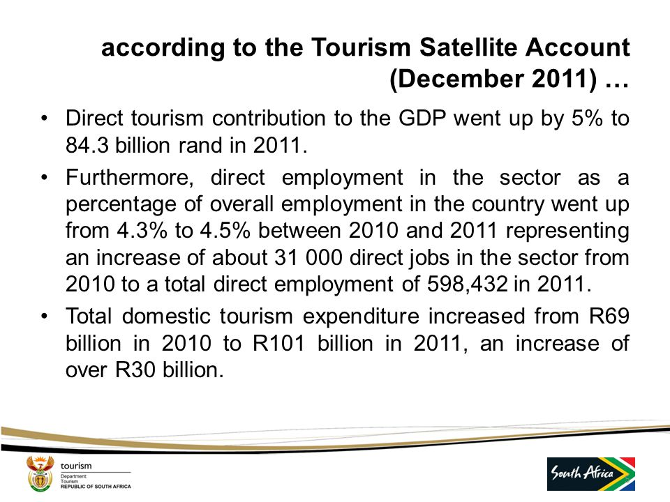 Tourism growth in South Africa …  In 1993, South Africa received a mere 3.4 million foreign visitors.  By 2012, the figure had grown by 300 % to 13.