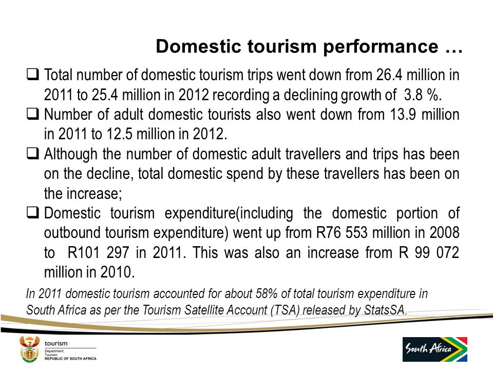 Domestic tourism performance …  Total number of domestic tourism trips went down from 26.4 million in 2011 to 25.4 million in 2012 recording a declining growth of 3.8 %.