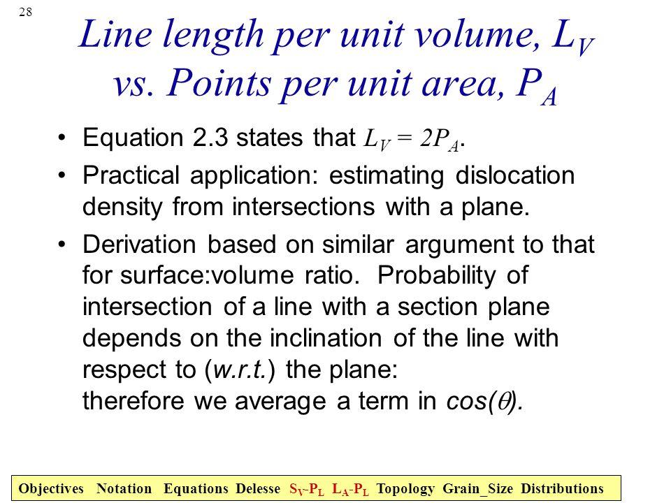 28 Line length per unit volume, L V vs. Points per unit area, P A Equation 2.3 states that L V = 2P A. Practical application: estimating dislocation d